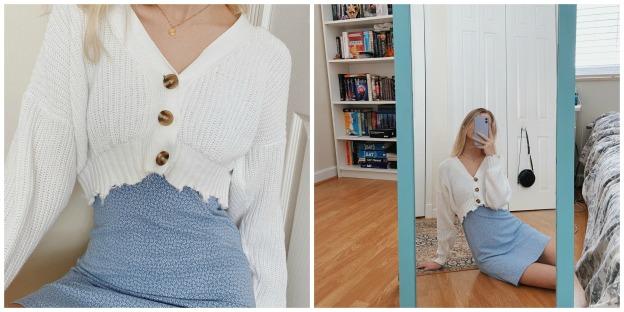 Blue w:sweater