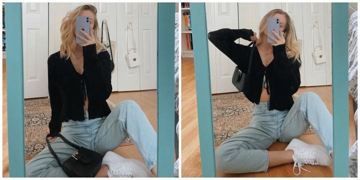 mom jeans + cardigan